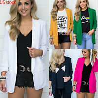 US Women Collar Suit Jacket Blazer Coat Plain Long Sleeve Cardigan Plus Size Top