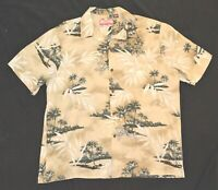 RJC Mens Hawaiian Shirt Short Sleeve Made in USA Tan Palm Tree Size XL