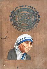 Mother Teresa Painting Handmade Indian Miniature Old Stamp Paper Portrait Art