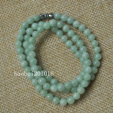 6Mm necklace Special offer 21inches Certified Untreated Green Icy Jadeite Jade