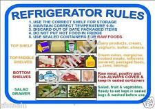 REFRIGERATOR FRIDGE RULES KITCHEN CAFE RESTAURANT COFFEE SHOP FOOD HEALTH SAFETY