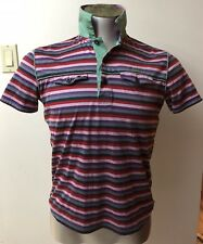 Hugo Boss Modern Fit Stripes Rugby/polo Men Short Sleeve Size Small