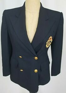 Lauren Ralph Lauren Double Breasted Navy Blue Wool Crested Blazer 6P Petite