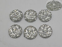 100 Clear Flatback Resin Round Cabochon Gems Pyramid Dotted Rhinestone 12mm