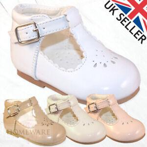 BABY GIRLS SPANISH STYLE PATENT SHOES PINK WHITE IVORY UK INFANT SIZE UK 2-6 NEW