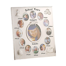 Silver School years picture frame with 13 openings each grade Engraved