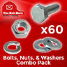 (60) M6-1.0x25 Class 10.9 Hex Cap Screws Hex Bolts, Nuts, Washers, Lock Washers