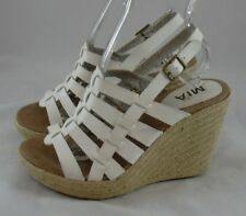 bf599eaeeed2 Mia Wedge Platform Espadrille White Leather Sandals Womens 6.5 Strappy  Raffia