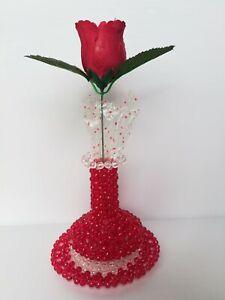 Madu Handmade Sri Lankan Crystal Beaded Flower Vase and Crystal Beaded Table Mat
