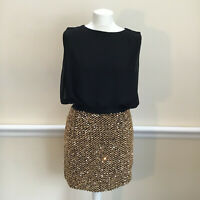 New With Tags Womens Size 14 Stunning Pink Boutique Black/Gold Sequin Dress