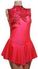 Skating Dress - Coral Lycra/Black Multi Pink Hologram