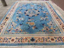 Antique fait main art deco chinois oriental grand tapis en laine bleue 357x276cm