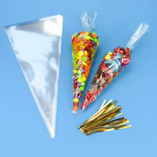 100* Large Clear Cellophane Cone Bags Twist Ties Party Candy Sweet Cello