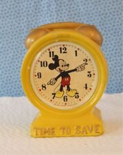 """DISNEY MICKEY MOUSE CLOCK """"TIME TO SAVE"""" ENESCO 1960 - 1970'S"""