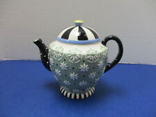 """Mary Engelbreit 1998 Green & Black Teapot Retired """"Circus"""" Tent Lid Lacy Emboss"""