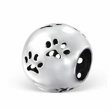 Cut Out Paw Print .925 Sterling Silver Round European Charm Bead