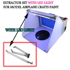 LED Hobby Airbrush Spray Booth Kit Exhaust Filter Extractor Set f  Model Craft