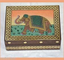 Designer wooden jewelry box with gem stone painting and brass border from India!