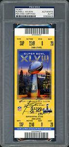 Russell Wilson Auto Super Bowl XLVIII Ticket Seahawks SB Champs PSA 83908406