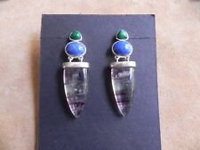 .925 dangle Earrings signed Cy Malachite, Lapis, Fluorite & Sterling Silver