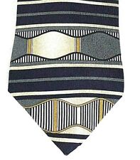 "Necktie ART DECO 58""x4"" Silk RUFFINI ITALY  Black Sliver White Gold"