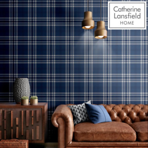 Catherine Lansfield Kelso Navy Blue Check Wallpaper by Muriva 165524