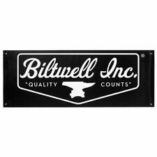"Biltwell Shield Logo Shop Banner Black / White - 18"" X 48"""