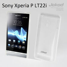 Jekod white TPU gel silic case cover+screen protector for Sony Ericsson Xperia P