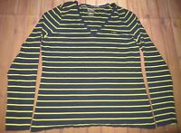 Lauren Ralph Lauren L-RL Long Sleeve Shirt Top Women Large Striped Blue Yellow