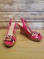 Charlotte Russe Wedge Sandals Pink Slingback Satin Floral Buckle Strap - Size 9