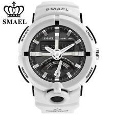 SMAEL Men Watch White Bracelet Sport Wristwatch LED Digital Quartz Watches Boys