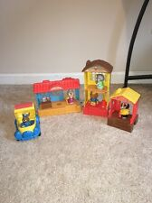 Vintage Mattel Hub Bubs Happy Hollow Village Set owl cat bunny dog mail truck