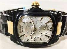 New Invicta Men's 6300 Lupah Chrono Day Date Black Corian Gold White Dial Watch