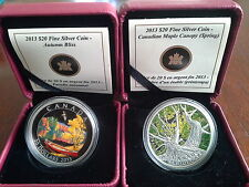 Canada 2013 $20 Fine Silver Coins -Autumn Bliss & Maple Canopy (spring)