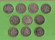 #C20. SET OF  2001  AUSTRALIAN  CENTENARY  CIRCULATED 50 CENT COINS
