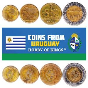 SET OF 4 COINS FROM URUGUAY: 1, 2, 5, 10 PESOS 2011-2019