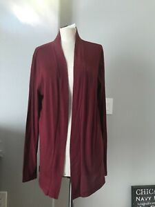 J Crew Long Sleeve Open Front Cardigan Sweater Women's Maroon Cardinal Size L-XL