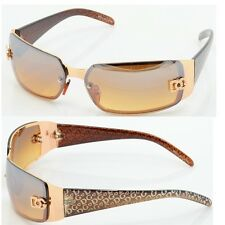 DG Women Fashion Designer Sunglasses Shades Rectangular Wrap Gold Brown NEW 5024