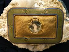 Antique Snuff Box With Blue And Green Enamel Trim With Enamel Center Portrait