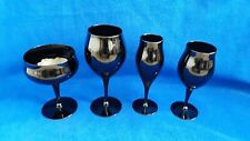 Black Wine Glass Champagne Coupe Flute Collection Contemporary Barware Vintage 4