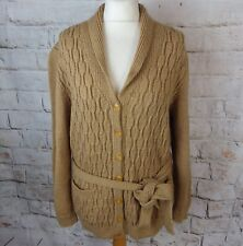 Vintage brown cable aran hand knit wool cardigan belt collar rustic blogger M 14