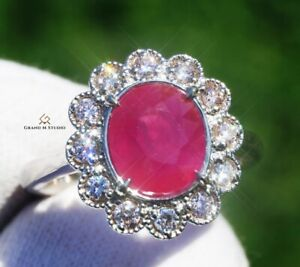 Ruby Gold Ring Diamond Natural NO HEAT 3.72 CTW GIA Certified RETAIL $15300