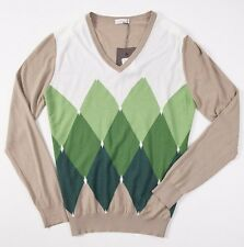 NWT $900 BALLANTYNE Extrafine 100% Cashmere Sweater 52/L Green Argyle V-Neck