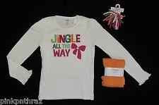 Gymboree 9 Cheery All The Way Leggings & Jingle Bow Shirt Hair Girl Set Holiday