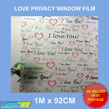 I LOVE YOU HEARTS FROSTED DECORATIVE WINDOW FILM - 92cm x 1m ROLL DIY (26) M101