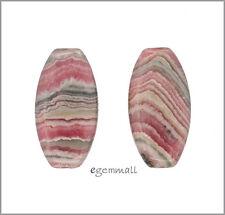 2 Rhodochrosite Flat Oval Barrel Earring Pendant Beads 13x25mm #80104