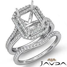 Emerald Diamond Semi Mount Engagement Ring Bridal Set 18k Gold White 2.50 ct.