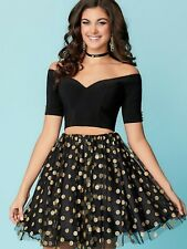 NWT Size 14 black/gold two piece short formal dress, Hannah S 27166