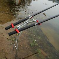 Einstellbare Doppel Pole Halterung Angelrute Halter Edelstahl Fisch Rest # F4S7