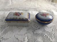 Pair Of Pretty Porcelain Trinket Boxes Germany Crown PM golden Martinroda mark